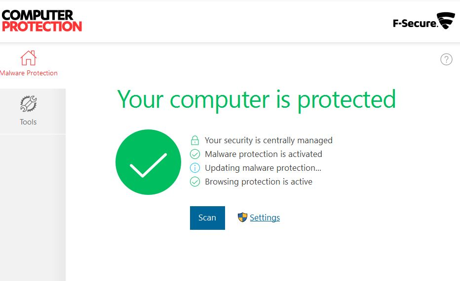f-secure main screen