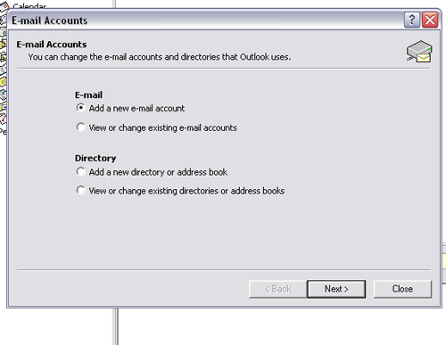 outlook 2003 email setup step 3 and 4