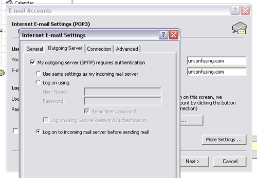 outlook 2003 email setup step 8,9, and 10