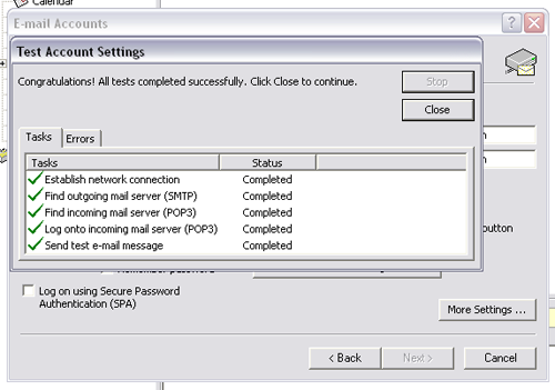 outlook 2003 email setup  step 11,12,13 and finish