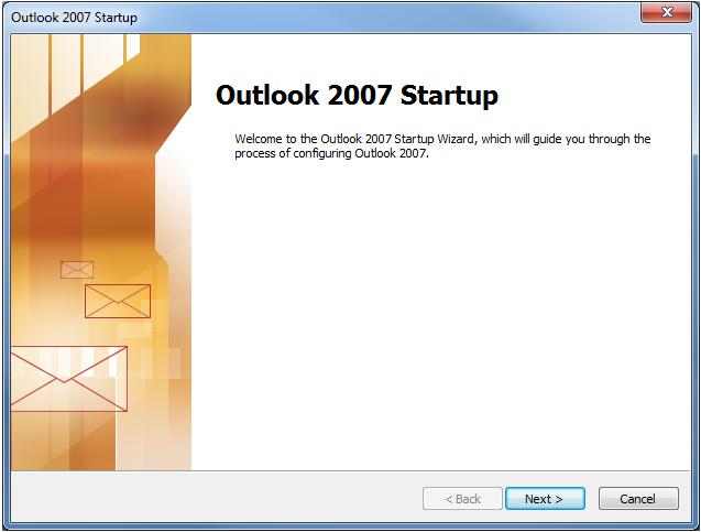 outlook 2007 setup step 1