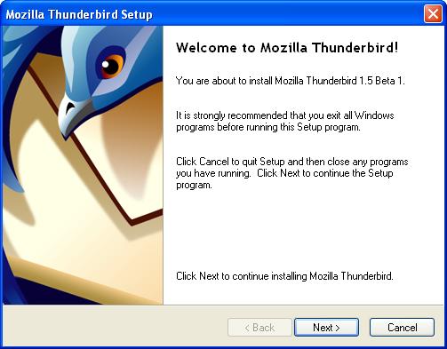 thunderbird install step 2