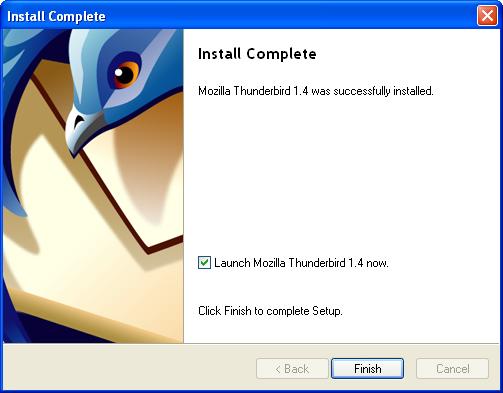 thunderbird install finish